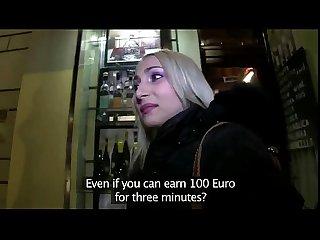 Blonde fucks huge dick in public for money