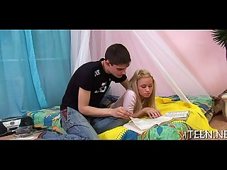 Babe pleasures boy with fellatio