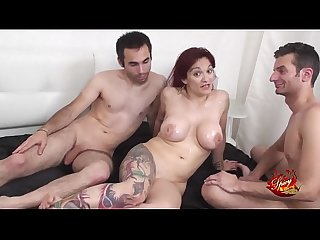 Two hard cocks for an italian big titts milf with Mary Rider