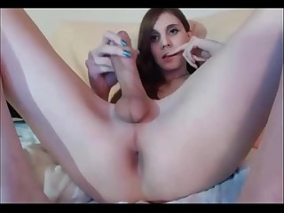 Slim TGirl with Big cock on webcam - TScamdolls.com