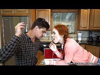 Cute redhead daughter sucks off her Tutor