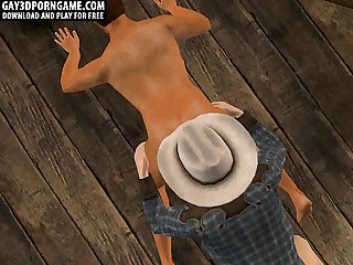 3d gay cartoon cowboys fooling around in the barn