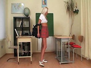 Schoolgirl caught jerking off her pussy by her teacher