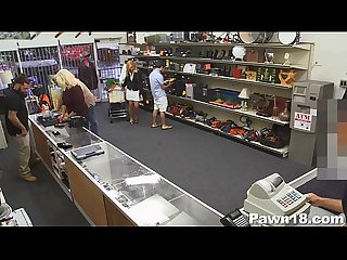 Blonde milf sucks in pawn shop
