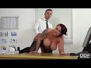 Busty hot-blooded boss Harmony Reigns fucked hard by employee at the office