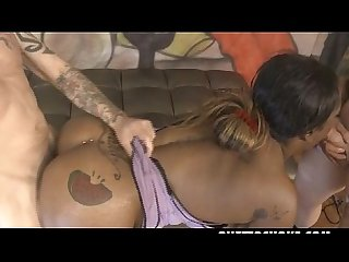 Chubby Black Slut Lessy DeVoe Manhandled By White Dudes