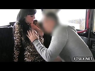 Busty milf pays the taxi with anal