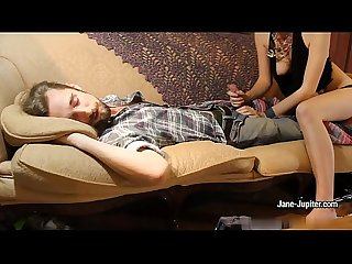 Nasty gf jane jupiter blows A guy while he s Sleeping