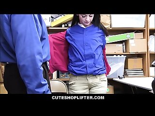 Cute brunette teen shoplifter athena rayne caught stealing layers of clothes fucked by mall cop