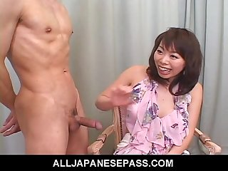 Amateur milf in a short skirt jerks and sucks a cock during an interview