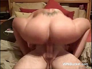 Wife with fake tits rides cock