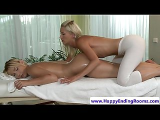 Oiled up massage lesbians rubbing client babe