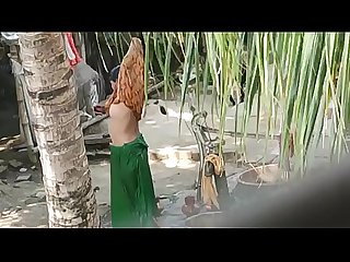 Indian aunty bathing