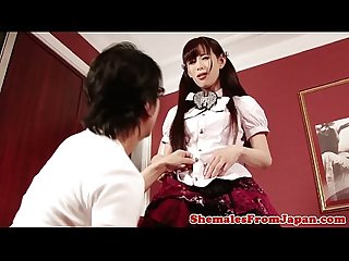 Japanese ladyboy amateur sucks before analsex