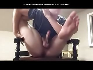 Boy sucks himself- hj selfsuck bj show off chubby hairy licking