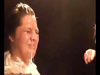 Spitting torture humiliation for brunette slut