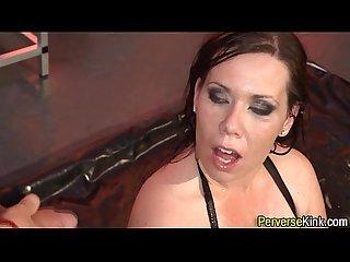 Extreme slut guzzles pee