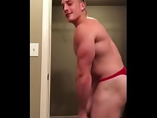 verbal jock boy in sexy red thong