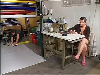 Sexy seemstress banged doggystyle in her laboratory!