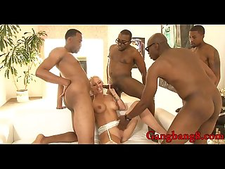 Busty blonde whore Holly Heart dped by big black cocks
