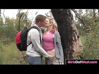 Busty Aussie blonde fucked outdoors