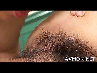 Bushy tight pussy mamma gets fingered