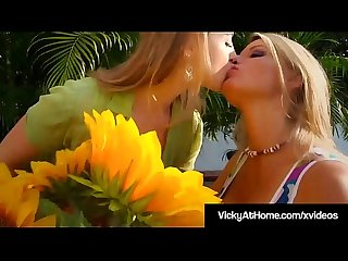 Busty Blonde Bombshell Vicky Vette Tongue Fucks Sunny Lane!