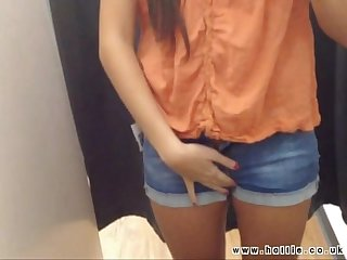 Self filmed pussy play in public changing room