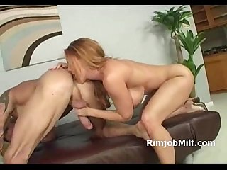 Busty pussy licked milf gags on cock and gives rimjob