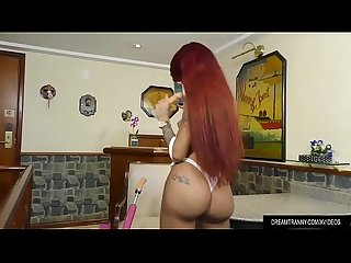 Tattooed Transsexual Nicolly Pantoja Enjoys a Machine Fucking Her Ass