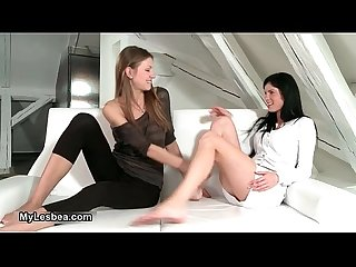 Two sexy lesbian girls getting