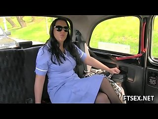 Nurse sucks off the taxi driver