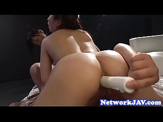 Busty japanese screwed in ffm threesome
