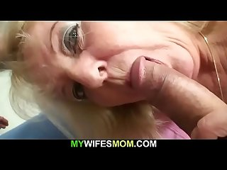 Hairy grandma in white lingerie rides his big cock