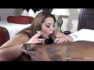 Sexy Asian BBW Miss LingLing Smokes and Sucks Black Cock