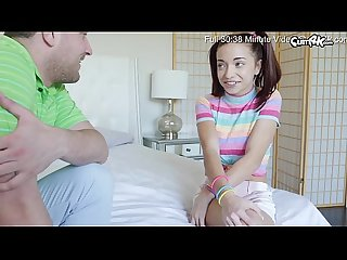 Innocent teen with blue eyes in pigtails takes a big Creampie from her step brother who is training