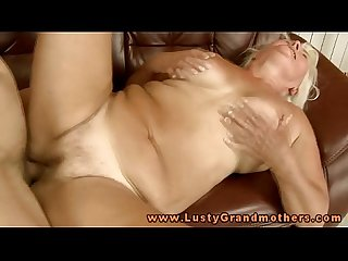 Blonde mature granny bouncing on dick