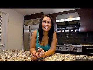 Busty brunette teen fucks herself with a toy in the kitchen