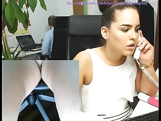 Secretary masturbating in her office while others working on sexowebcam online