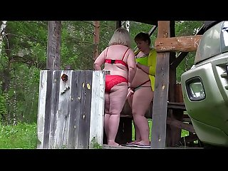 Voyeur outdoors spies on how two mature lesbians make a porn movie. Fat milf with a big ass..
