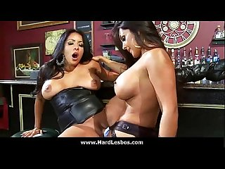 17 sexy busty lesbians share toys and strapon