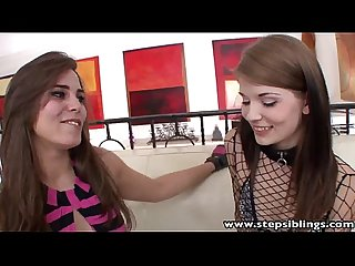 Stepsiblings hot brunette lesbian step sisters licking pussies