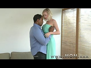 Mom blonde milf with big tits takes his girth