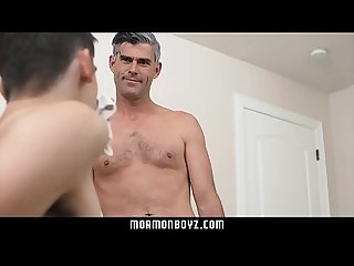 Young twink son fucked by silver fox daddy