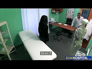 Super hot brunette babe deep pussy fucked by horny doctor