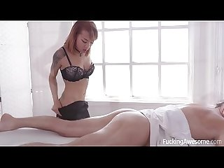 Kimberly Chi massages her favorite client Mick Blue