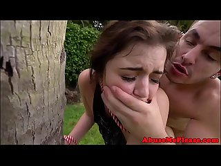 Bound teenie gets roughly pounded outdoors