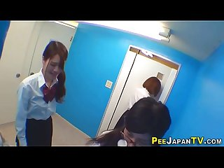 Asian teen piss in toilet