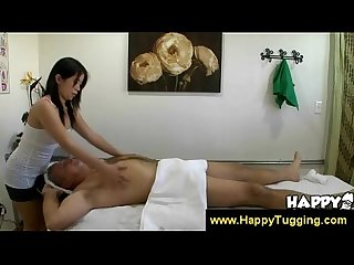Old dude pays masseuse to jack him off