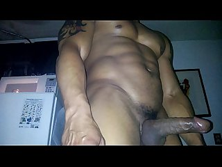 Muslce latin escort confessor shows off his muscle bod and big dick